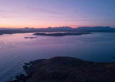 Aerial view of sunrise over the Scottish Highlands near Poolewe