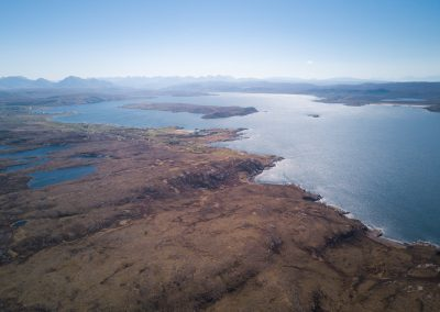 Aerial view of Loch Ewe in the Scottish Highlands near Aultbea
