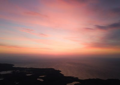 Aerial view of sunset over the Scottish Highlands near Poolewe l