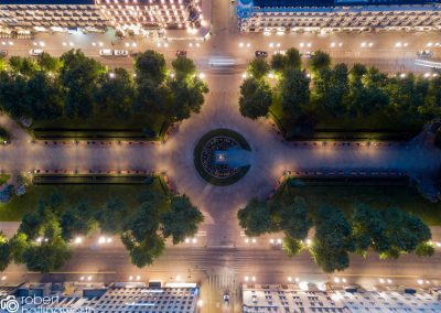 Aerial view  Esplanadi town square at midnight in summer in Helsinki